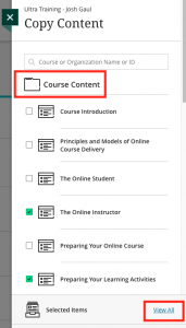 Copy Content menu with back folder and View All link highlighted