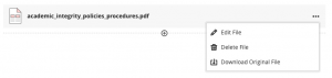 Edit uploaded file menu