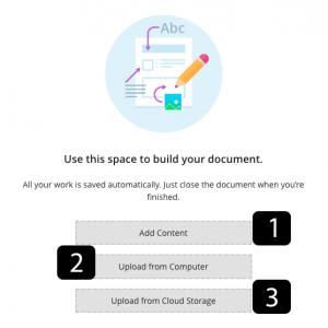 Adding content in document menu