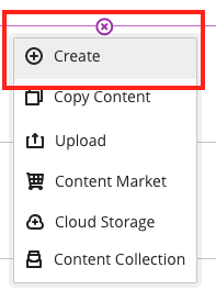 Add menu with Create button highlighted