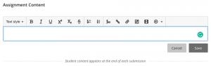 Assignment content text box