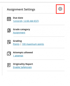 Assignment settings with gear icon highlighted