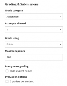 Grading & Submissions area in Assignment Settings