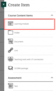 Create Item menu with learning module highlighted