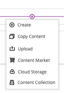 Learning module add content menu