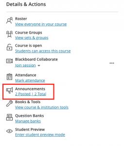 Announcements link in Details & Actions menu