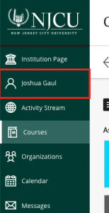 Institution page side menu with name highlighted