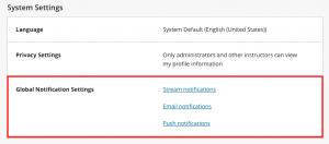 Global notification settings area