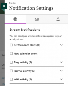 Stream notifications menu