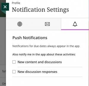 Push Notifications menu