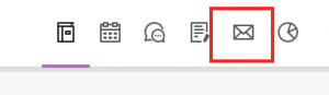 Navigation tabs with Messages icon highlighted