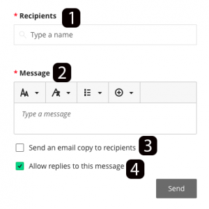 Message screen with highlighted sections