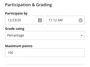 Participation & Grading discussion settings