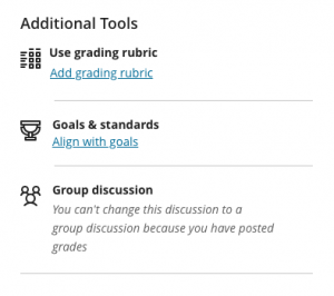 Additional Tools discussion settings