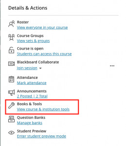 Details & Action sidebar with Books & Tools highlighted