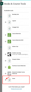 Books & Course Tools menu with Zoom highlighted