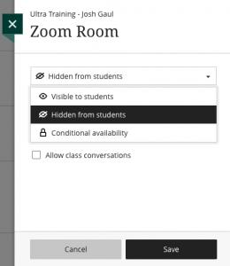 Zoom settings in Blackboard