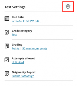 Test Settings area with gear icon highlighted