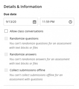 Details & Information test settings