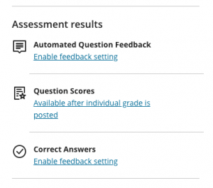 Assessment Results test settings