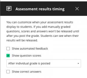 Assessment results timing menu