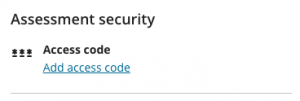 Assessment security test settings