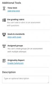 Additional tools test settings
