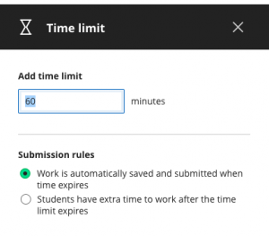 Test time limit settings