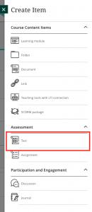 Test button in Create Item menu
